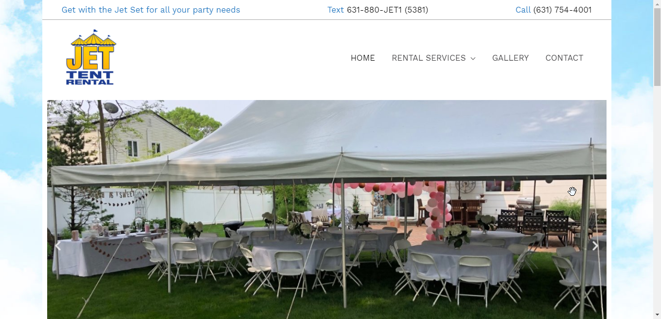 Jet Tent Rental Website